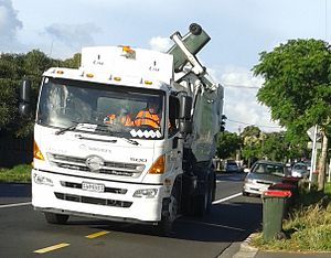 Waste in New Zealand - A truck picking up rubbish in Mount Albert, Auckland.