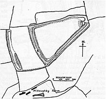 Plan drawing with shading showing the position of earthworks.