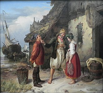 Heligoland - Marriage Proposal in Heligoland by Rudolf Jordan, 1843