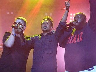 Run the Jewels - El-P (left) and Killer Mike (right) with Zack de la Rocha (center) at the 2015 Coachella Festival