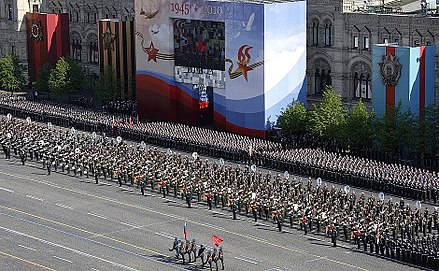 The Moscow Garrison massed bands during the 2010 Moscow Victory Day Parade Russian Massed Bands.jpg