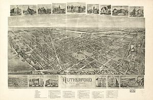 Rutherford, New Jersey - Bird's-eye view of Rutherford in 1904