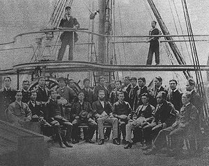 Japanese ironclad Ryūjō - Naval gunnery trainees on the Ryūjō, around their English instructor, Lieutenant Horse (ホース中尉), in early 1871