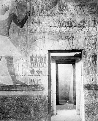 Mereruka - Lantern Slide Collection: Views, Objects: Egypt. Tomb of Mera, Sakkara. Dy. 6., n.d. Brooklyn Museum Archives