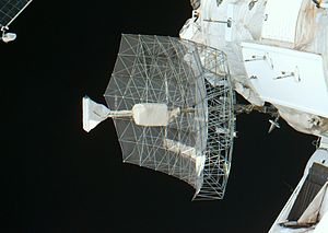 Priroda - Closeup of the Travers antenna taken by the crew of STS-79