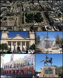 (Frae top tae bottom; frae left tae richt) Aerial view o the ceety; Santiago del Estero Cathedral; Plaza Libertad; Santiago del Estero Cultural Complex an Monument tae Belgrano