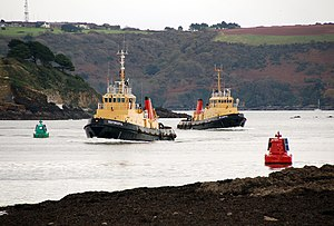 Royal Maritime Auxiliary Service - Adept-class tugs Forceful and Careful entering the River Tamar