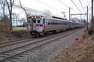 A SEPTA R5 commuter train heading for Doylesto...