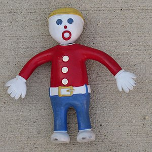 "Mr. Bill - A rubber doll representing the ""Mr. Bill"" character.  This particular doll has been a travel mascot for 10 years and so is quite battered. The head has been cyanoacrylate glued back onto the body, after suffering a Mr.-Bill-like accident."