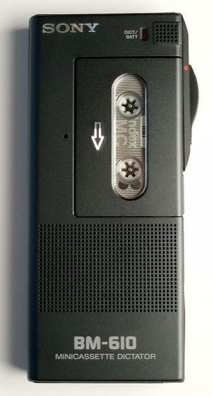 Mini-Cassette - A Sony Mini-Cassette dictation recorder.