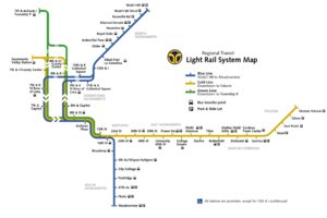 The Blue Line forms the north–south route, and the Gold Line forms the east–west route. The Central City fare zone is located to the west.