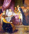 Saint Louis, roi de France, sur son lit de mort, donnant ses derniers conseils a son fils Philippe, par Jacques-Antoine Beaufort.jpg