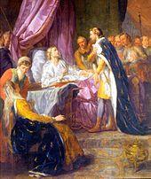 Tableau néoclassique représentant Louis IX alité, entouré de son fils, de son épouse et plusieurs assistants.