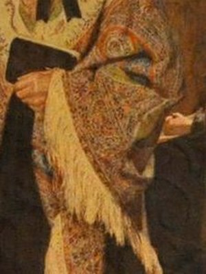 Salem (Vosper painting) - Shawl detail