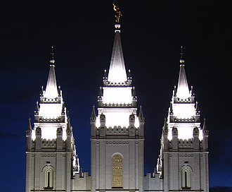 Temple (LDS Church) - The spires of the Salt Lake Temple at night
