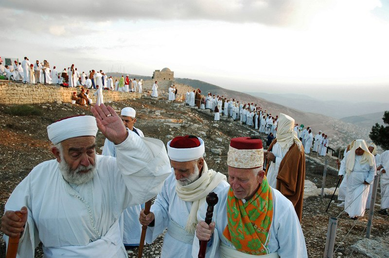Samaritans marking Sukkot on Mount Gerizim, West Bank - 20051017
