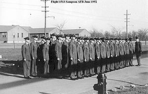 Sampson Air Force Base - Wartime graduation of new airmen, BMT Flight 1513 3691 BMTS June 1952. Many of these airmen probably served in the Korean War after technical training.