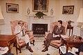 Samuel Ichiye Hayakawa, United States Senator from California on May 8, 1981 with Reagan Contact Sheet C1875 (cropped).jpg