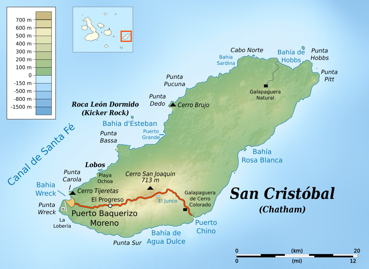 Map Of San Cristobal Island Galapagos