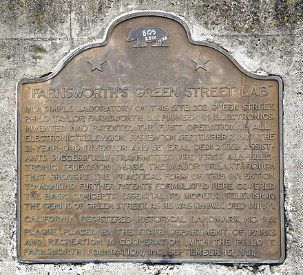Plaque at the location of Farnsworth's San Francisco laboratory on Green Street. San Francisco, Farnsworth's Green Street Lab plaque.jpg