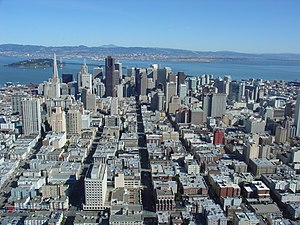 San Francisco downtown seen from helicopter