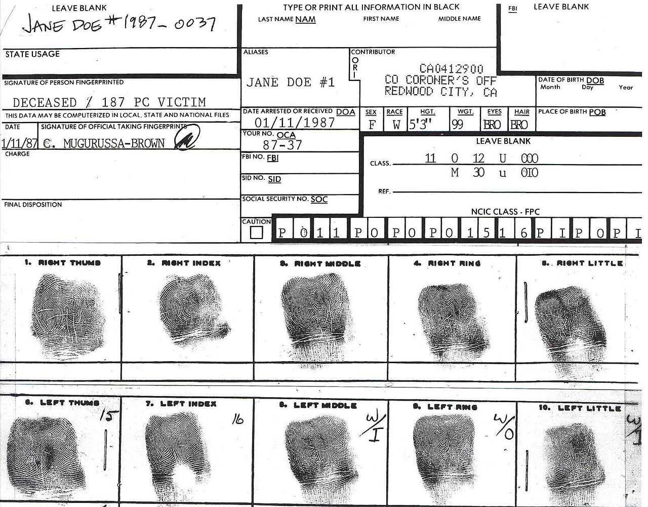 Medical Chart Template: San Mateo County Jane Doe fingerprint chart.jpg - Wikimedia ,Chart