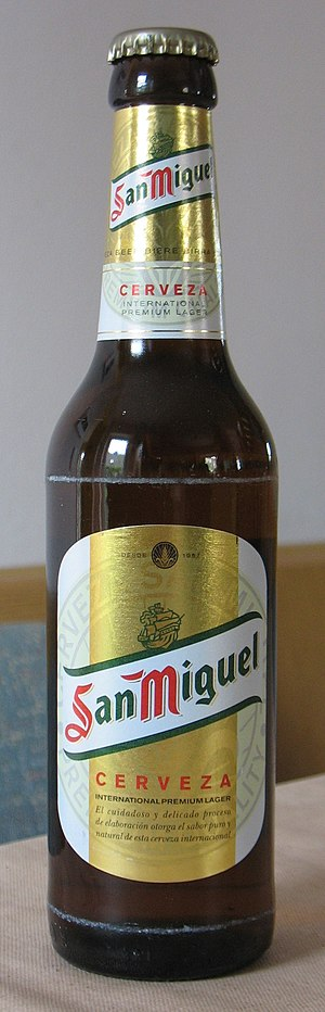 A bottle of San Miguel beer.
