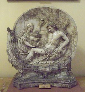 Castulus - Baroque relief of St. Irene curing St. Sebastian's injuries.