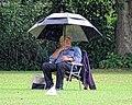 Sandwich Town CC spectator in the rain at Sandwich, Kent, England 02.jpg