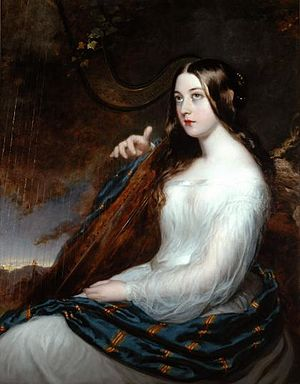 Sarah Curran - Sarah Curran playing the harp. Painted by William Beechey, c.1805.