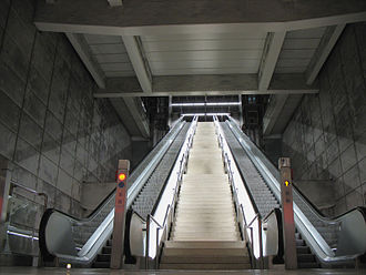 Metro Bilbao - Sarriko Station (L1 and L2), designed with a cristal-made entrance.