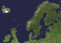 A satellite photograph of Northern Europe