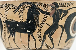 Satyr - The goat on the left has a short goat tail, but the Greek satyr on the right has a long horse tail, not a goat tail (Attic ceramic, 520 BC).