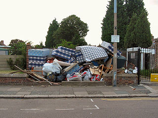 Illegal dumping the act of dumping waste illegally