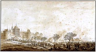 Battle of Lübeck - Battle of Lübeck, showing the north side of the city walls with the Burgtor in the background