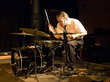 Paul Lovens, drums, picture taken in Jazz club...