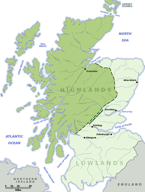 Scottish Lowlands - A map showing the Scottish Lowlands (in light green) and the Scottish Highlands (darker green).