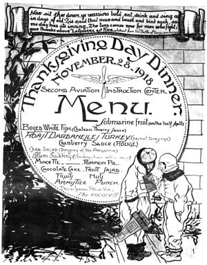 Tours Aerodrome - Second Air Instructional Center - Thanksgiving Dinner Menu 1918