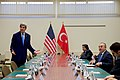 Secretary Kerry Responds to a Reporter's Question Before a Meeting With Turkish Foreign Minister Çavuşoğlu at NATO Headquarters in Brussels (30654753703).jpg
