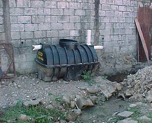 Septic tank - A septic tank before installation, with manhole cover on top