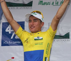 Sergio Henao - Henao wearing the leader's jersey at the 2010 Vuelta a Colombia