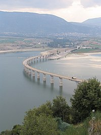 Servia bridge over Polyfytos lake, Kozani, Greece.jpg