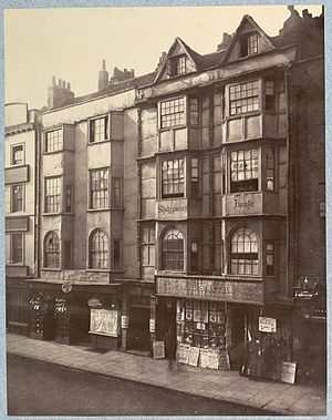 Aldersgate - 134 Aldersgate Street, Shakespeare's House - demolished in 1879