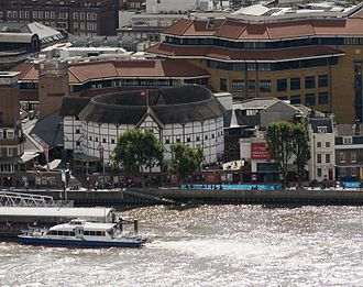 The reconstructed Globe Theatre on the south bank of the River Thames in London Shakespeare's Globe (8162111781).jpg