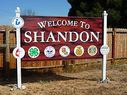 Shandon welcome sign. This was built as part of an Eagle Scout Project by a local resident