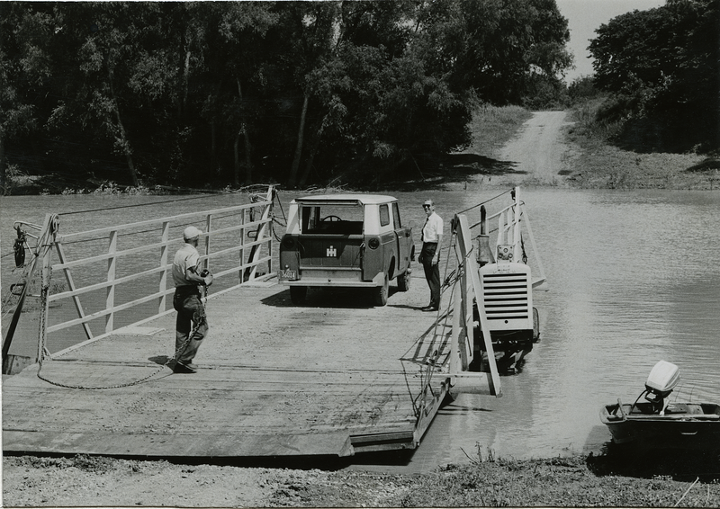 File:Sharkey County, Miss. June 1, 1965. Sunflower River Ferry is used by Ed Blake and Austin McMurchy on a field trip in the delta.png