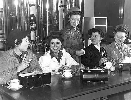 Shop stewards in the canteen of the Burrard Dry Dock in North Vancouver, British Columbia, Canada. Commencing in 1942, Burrard Dry Dock hired over 1000 women, all of whom were dismissed at the end of the war to make way for returning men. Shop Stewards at Burrard Drydock.jpg