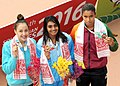 Shraddha Sudhir (INDIA) won Gold Medal, Gaurika Singh (NEPAL) won Silver Medal and Uthama Silva (SRI LANKA) won Bronze Medal in Women's 200m Medley Swimming, at the 12th South Asian Games-2016, in Guwahati.jpg