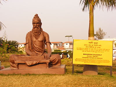 Sushruta, the author of Sushruta Samhita, one of the oldest texts on surgery Shushrut statue.jpg