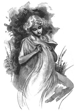 Sif - The goddess Sif holds her long, golden hair while grain grows behind her in an illustration from 1897